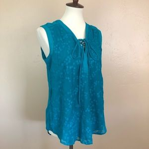 Anthropologie Maeve Embroidered Lace-Up Tank sz 8